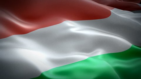 Hungary waving flag. National 3d Hungarian flag waving. Sign of Hungary seamless loop animation. Hungarian flag HD resolution Background. Hungary flag Closeup 1080p Full HD video for presentation