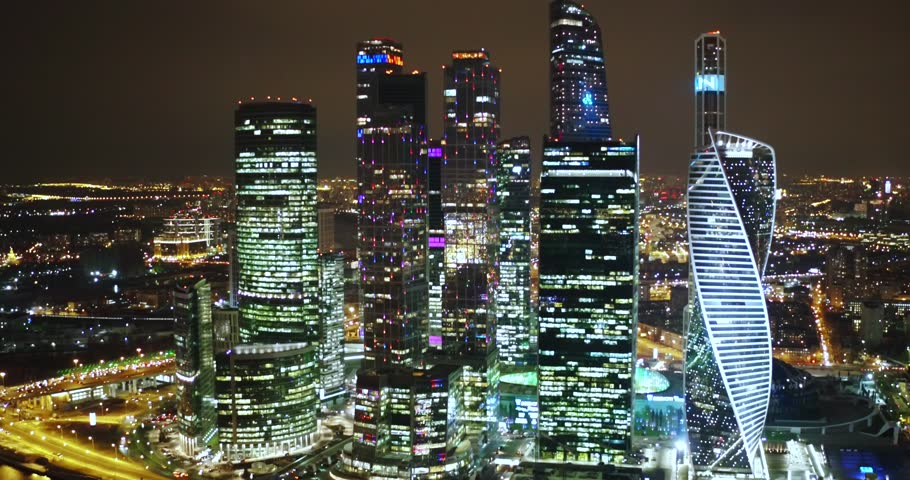 Aerial view of Moscow skyscrapers taken at night, Russia | Shutterstock HD Video #1027626149