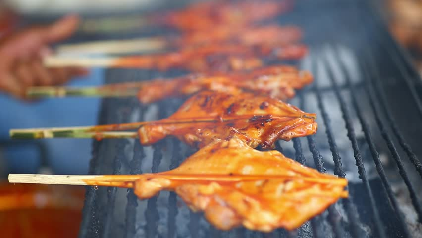 Street thai food, grilled chicken barbecue | Shutterstock HD Video #1027636919