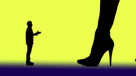 Woman and high-heeled boots dominate a pleading man and kick him dan with the shoe tip away.