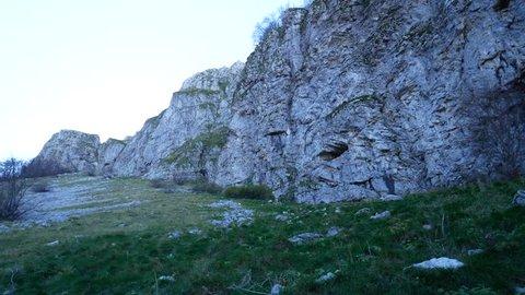limestone rocks and hikers in Matese mountains, Roccamandolfi, Campania and Molise, Italy