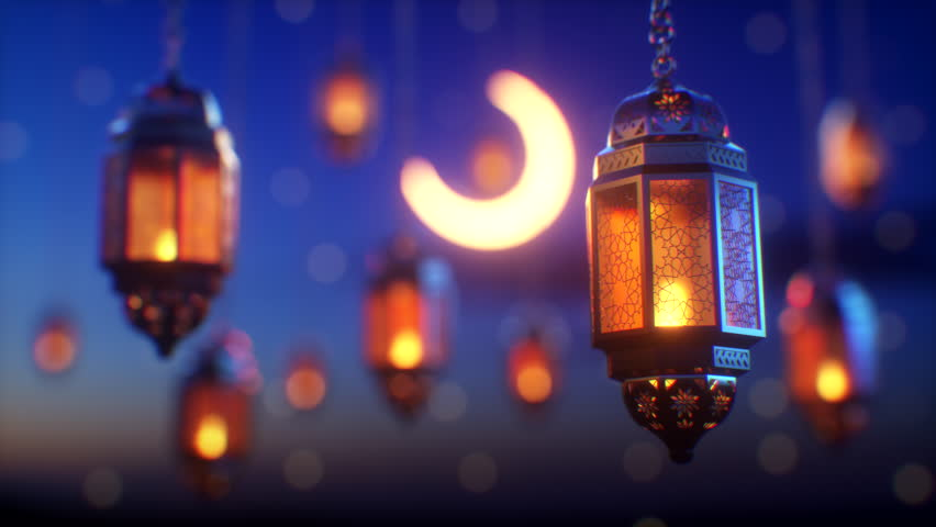 Ramadan candle lanterns are hanging on dawn sky background with glowing stars and a crescent. There is a space on top for your message text and logo. Top quality 3d animation. #1027722329
