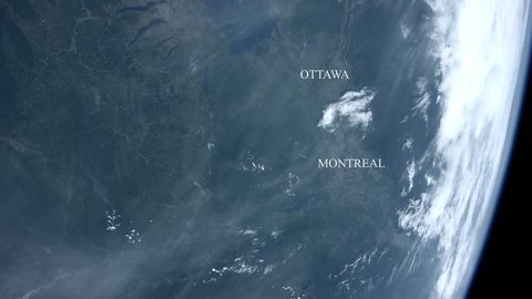 Ottawa and Montreal seen from space - Some elements furnished by NASA.