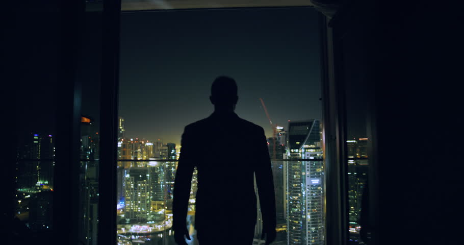 Young Entrepreneur Walking Balcony Business Buildings Skyline Dubai Urban Panorama Success Contemplation Night Financial District Slow Motion Red Epic 8k | Shutterstock HD Video #1027882889