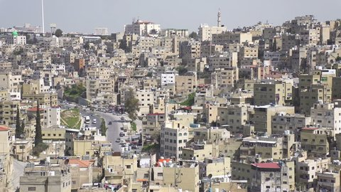 Panoramic view of old town Amman, Jordan. Old building facades, sunny spring day.