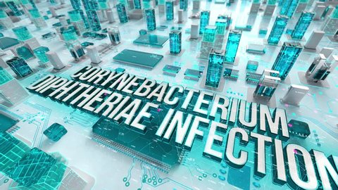 Corynebacterium diphtheriae Infection with medical digital technology concept