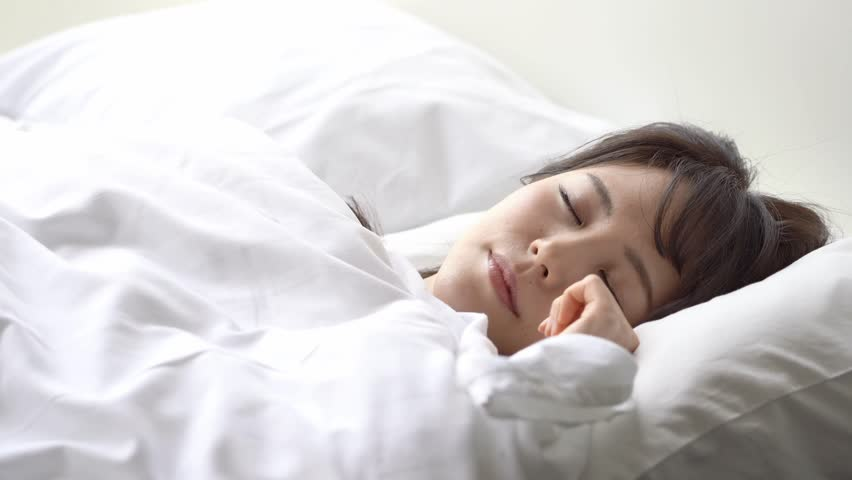 Young Asian Woman Sleeping In Stock Footage Video 100 -5779