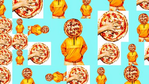 Animation Photo Slide Show design. Girl Pizza addict. Pizza Porn hipster concept