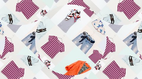 Motion Slide Show design. Mix of stylish clothes. Flat lay minimal. The perfect screensaver for fashion blog