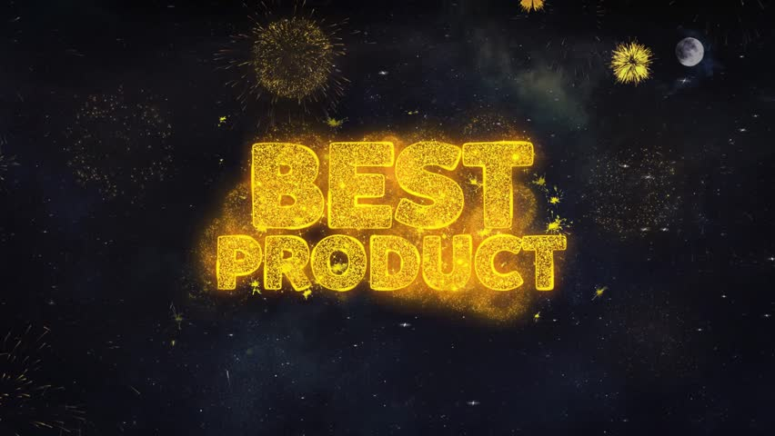 Best Product Text Typography Reveal From Golden Firework Crackers Particles Night Sky 4k Background. Greeting card, Celebration, Party, Invitation, Gift, Event, Message, Holiday, Wish, Festival  | Shutterstock HD Video #1028090279