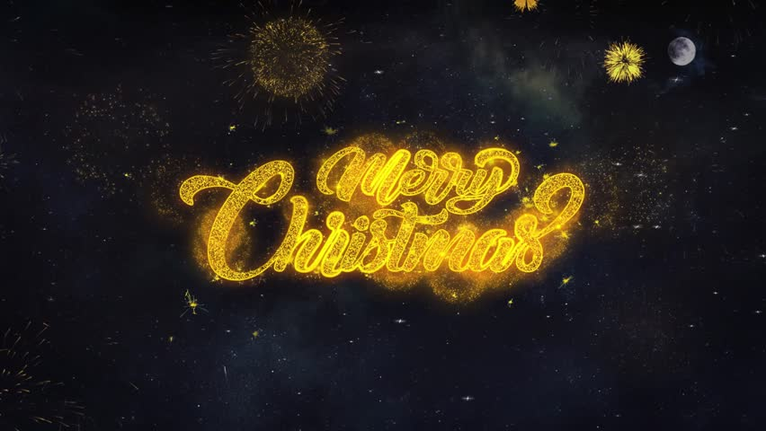 Merry Christmas 1 Text Typography Reveal From Golden Firework Crackers Particles Night Sky 4k Background. Greeting card, Celebration, Party, Invitation, Gift, Event, Message, Holiday, Wish, Festival  | Shutterstock HD Video #1028090399