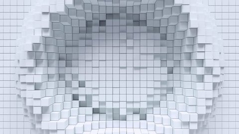 Abstract background with white moving cubic surface.