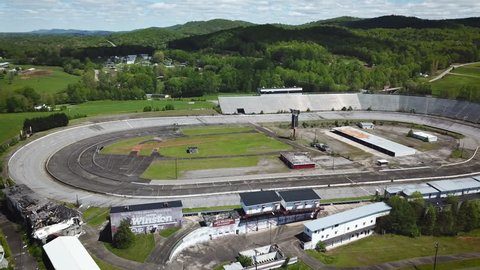 Wilkesboro, North Carolina / USA - April 21, 2019:  An aerial view of the abandoned North Wilkesboro Speedway, once home to many historic races on the now defunct Winston Cup Series NASCAR circuit.