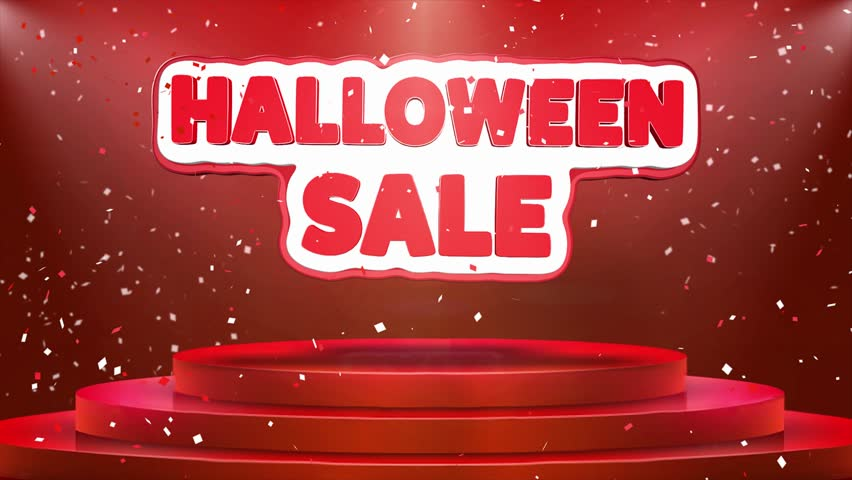 Halloween Sale Text Animation on 3d Stage Podium Carpet. Reval Red Curtain With Abstract Foil Confetti Blast, Spotlight, Glitter Sparkles, Loop 4k Animation. | Shutterstock HD Video #1028130179