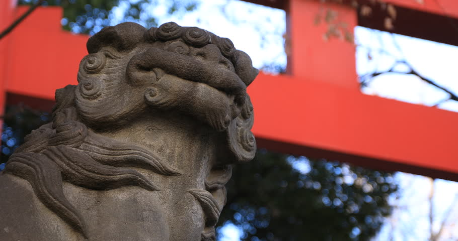 Statue guardian dog at the traditional shrine. Shinjuku district Tokyo Japan - 01.21.2019 : It is an old statue at the traditional shrine. camera : Canon EOS 5D mark4 | Shutterstock HD Video #1028153279