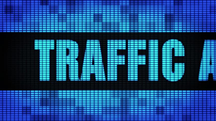Traffic Analysis Front Text Scrolling on Light Blue Digital LED Display Board Pixel Light Screen Looped Animation 4K Background. Sign Board , Blinking Light, Pixel Monitor, LED Wall Panel
