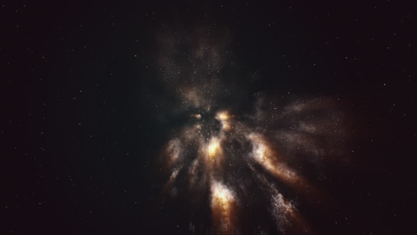 CGI generated space travel with star field and yellow nebula clouds. #1028258429