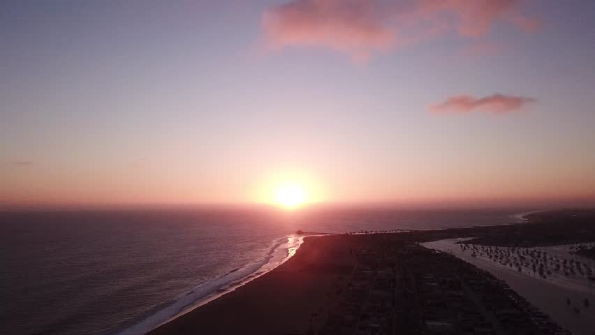 California beach during a summer sunset. Beautiful purple and pink sky with clouds and waves crashing on the shore. Aerial drone video.    Shutterstock HD Video #1028277899