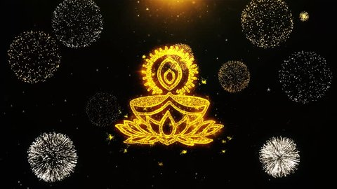 Deepak Diya Lamp Text Sparks Particles Reveal from Golden Firework Display explosion 4K Background Symbol Element Sign