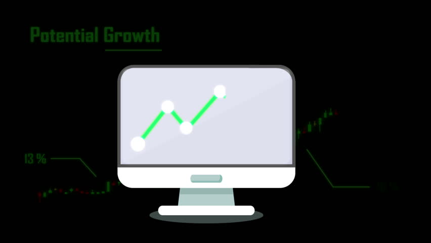 Chart Graph break through the computer monitor.  Growth chart for your profit, revenue, and statistics presentation.