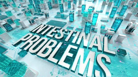 Intestinal Problems with medical digital technology concept