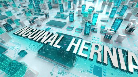 Inguinal Hernia with medical digital technology concept