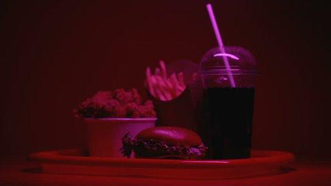 Fast food illuminated with warning light, risk of overweight gastritis heartburn