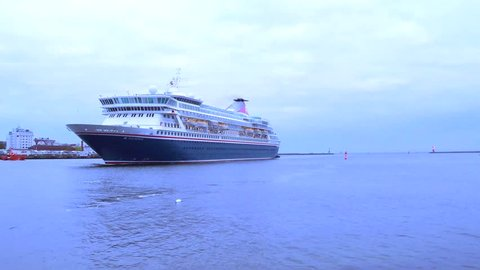 Warnemünde, Germany - April 24, 2019 - Cruise ship 'Balmoral' in the harbor - real time - some different Scenes and Details