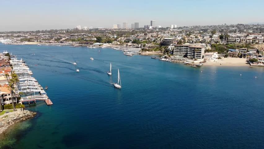 A short flight over Newport Harbor | Shutterstock HD Video #1028515169