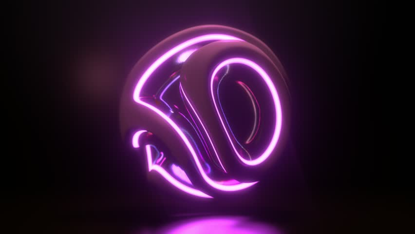 Glowing neon light sphere. Abstract background with futuristic ultraviolet wavy ripples. Motion design template. 3d shape with strobing curly pattern. 3d loop animation. Dynamic composition. 4K UHD