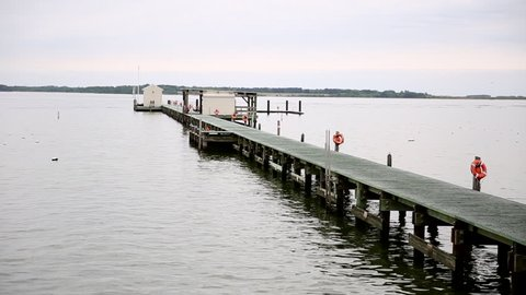 Dock at Patuxent River in Solomon's Island, Maryland.
