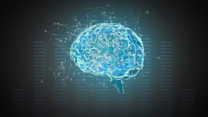 Digital animation of a rotating blue brain with surrounding particles on a moving frequency bars background   Shutterstock HD Video #1028629709