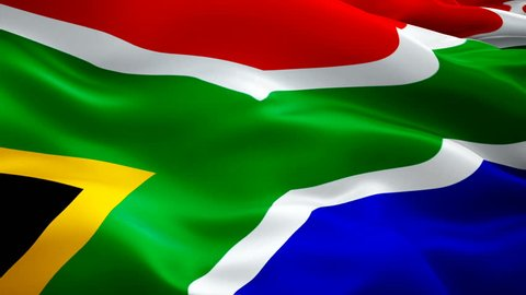 South Africa flag video waving in wind. Realistic South Africa Cape Town Flag background. South Africa Flag Looping Closeup 1080p Full HD 1920X1080 footage