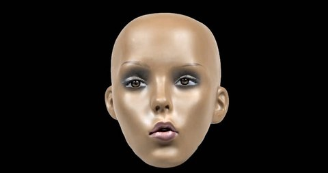 mannequin head with animated facial expressions and overlayed glitch and distortion. not a real model, this is a mannequin head