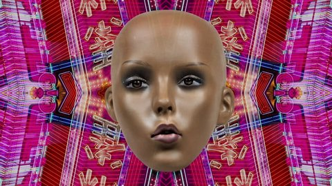 mannequin head with animated facial expressions on a technology background. not a real model, this is a mannequin head