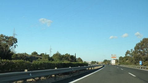 Time lapse of drive along the highway from Denia to Alicante, early in the morning with little traffic.
