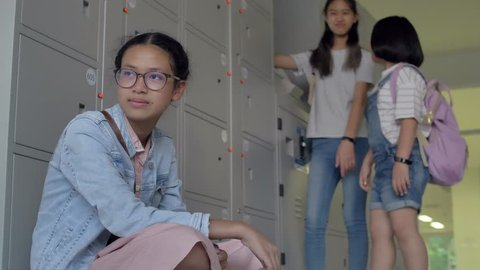 Asian Pre Teen Girl Being Bullied By Her Classmate, Student Problem In School