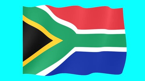 South African Flag,  Seamless Looping,  Waving Animation.