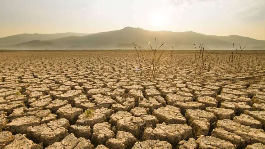 Drought and Climate change, Landscape of lake, river dry because the heat wave impact on summer at around equator country, asia or south of africa | Shutterstock HD Video #1028778869