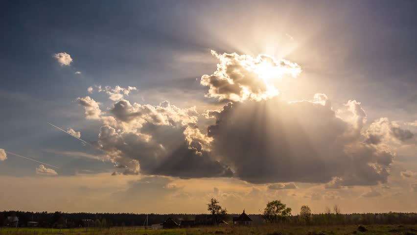 Timelapse of sun rays emerging through fluffy clouds, trust and hope, heaven   Shutterstock HD Video #1028798669