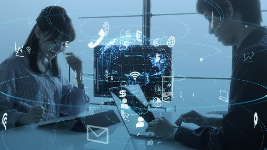 Communication network concept. IoT (Internet of Things). | Shutterstock HD Video #1028884139