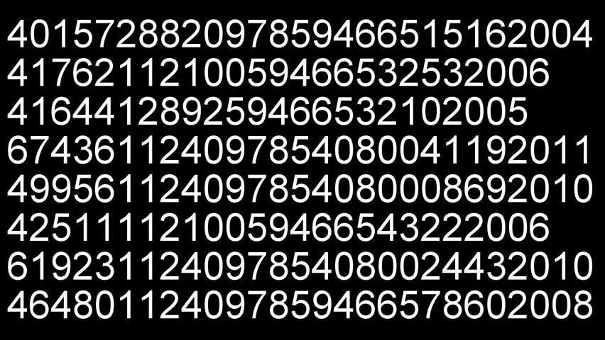 time lapse displaying data stream white digits on black background