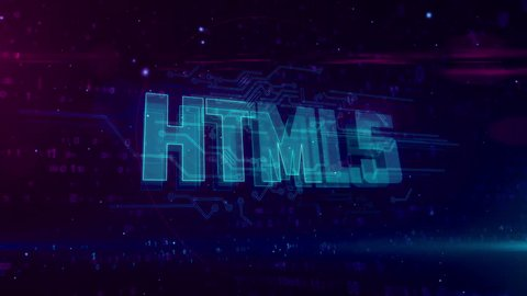 Html5 glowing hologram intro on dynamic digital background  modern and  futuristic 3d concept of coding, software and programming in loopable and  seamless 4k animation