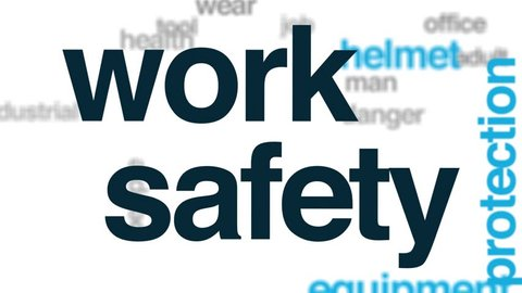 Work safety animated word cloud. Kinetic typography.