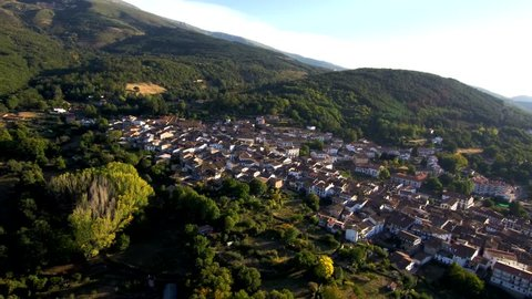 Aerial view in Candelario, village of Salamanca,Spain. 4k Drone Video