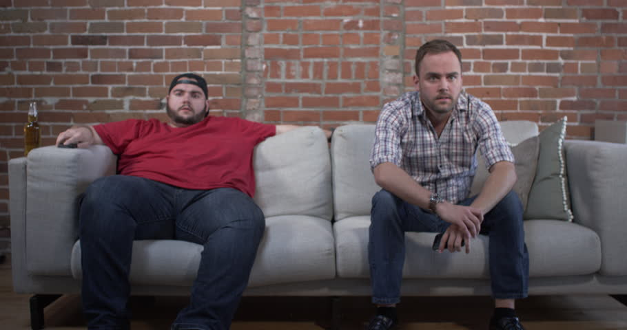 Two guys on a couch