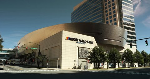 Charlotte, North Carolina, USA - October 22, 2018: The NASCAR Hall of Fame building in Charlotte North Carolina, USA honors drivers who have shown exceptional skill at NASCAR driving.