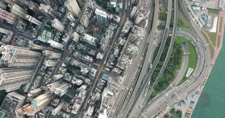 4K Aerial view of Western Hong Kong in daytime.Flying over buildings, road and skyscrapers | Shutterstock HD Video #1029231629