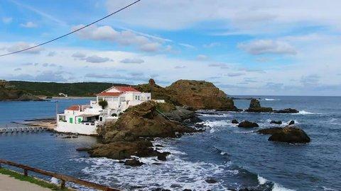 Waves drone flight in Sa Mesquida, Minorca