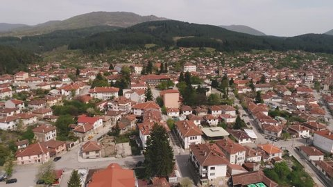 KOTEL, BULGARIA - 04 May, 2019:  Pantheon of Georgi Rakovski and Museum of the Kotel Renaissance, Kotel, Sliven Region, Bulgaria -Drone view- 4k